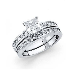 Jewelry - 14K Solid White Gold Princess Engagement Ring&Band